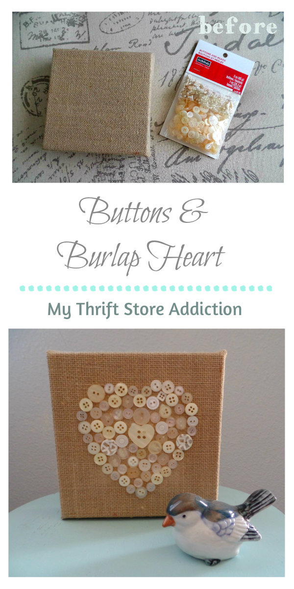 Buttons and Burlap Heart in 3 Easy Steps mythriftstoreaddiction.blogspot.com Simple project created with clearance buttons and burlap sign!