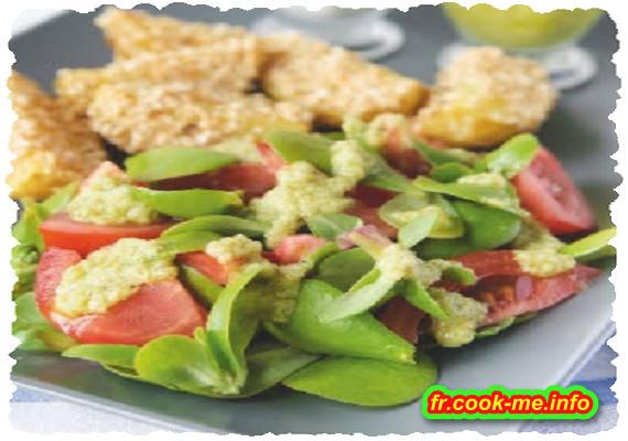 Salade de pourpier et tomates, vinaigrette à l'avocat