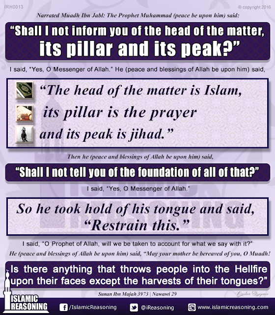 Shall I not inform you the head of the matter, its pillar and its peak? | Islamic Reasoning Designs