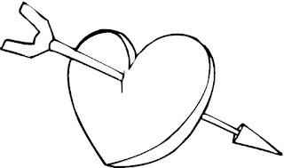 דפי צביעה לבבות עם חץ
