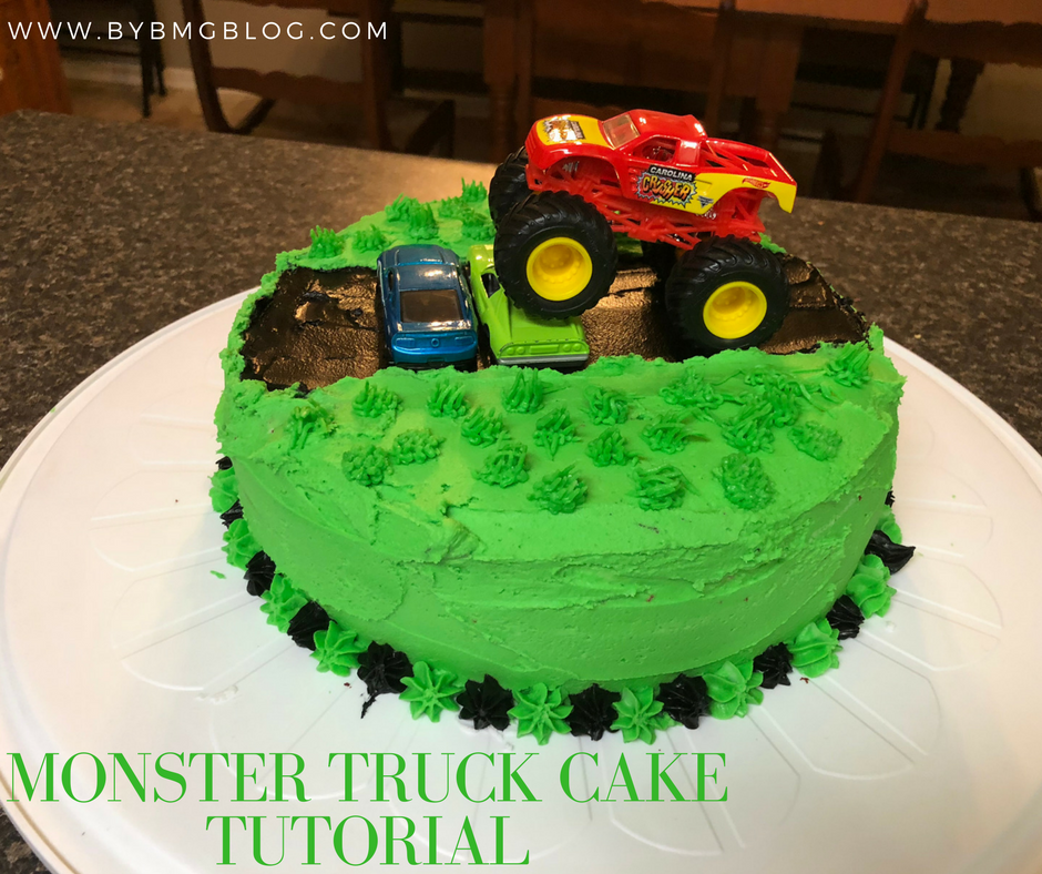 bybmg: Two Layer Monster Truck Birthday Cake Tutorial