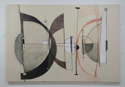 verna vogel aka steel sky woman, abstract painting in studio.