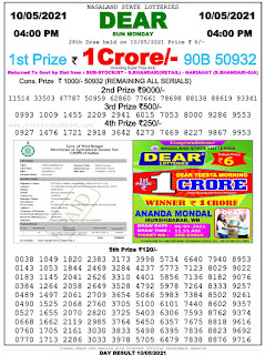 Nagaland State Lottery Result 4 PM 10.5.2021