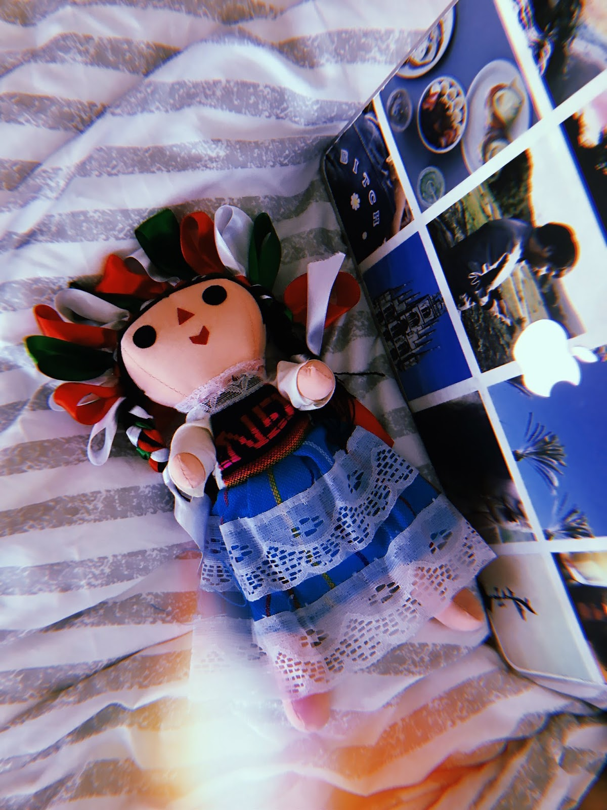 Hanging out at the Queretaro Airbnb with my adorable Maria doll, made by a local woman.