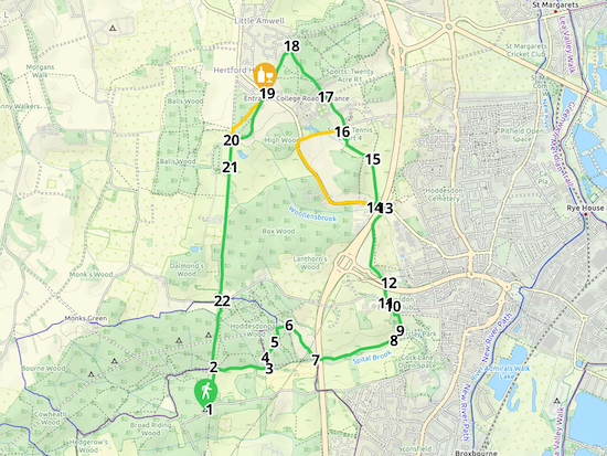 Map for Walk 88: Ermine Street East Loop  Created on Map Hub by Hertfordshire Walker  Elements © Thunderforest © OpenStreetMap contributors  Note: There is a larger, more detailed map embedded at the end of these directions