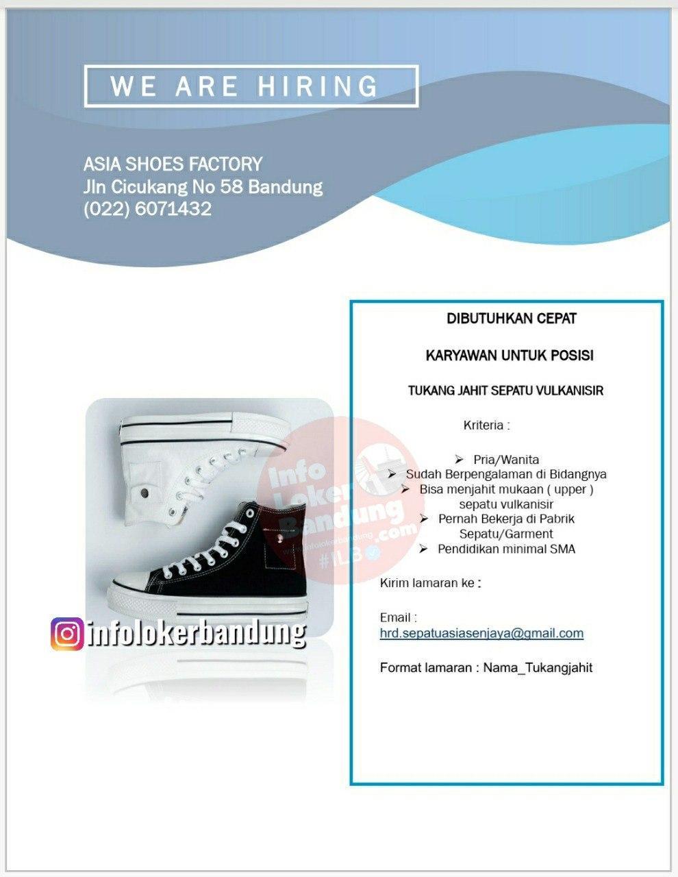 Lowongan Kerja  PT. Asia Shoes Factory Bandung Oktober 2020