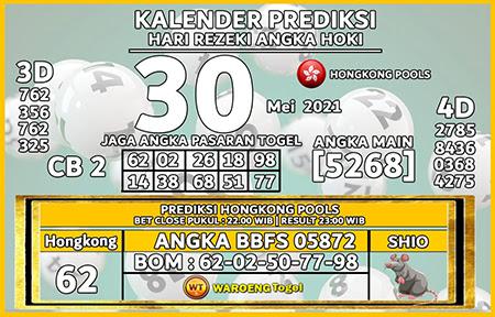 Kalender Prediksi HK Malam Ini 30 Mei 2021