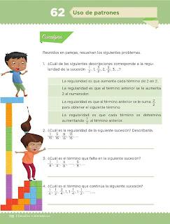 Apoyo Primaria Desafíos Matemáticos 5to Grado Bloque IV Lección 62 Uso de patrones