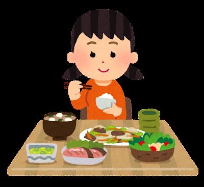 静かに食事をする子供のイラスト(女の子)
