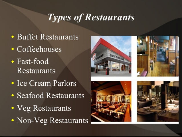 a discussion on various types of restaurants A restaurant is a commercial establishment committed to the sale of food and beverage a restaurant may be a licensed part of a hotel operation, whereby the sales of the restaurant contribute to the sales performance of the hotel as a whole restaurants may also be independent business entities under individual ownership and management.