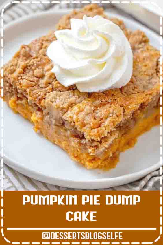 Pumpkin Pie Dump Cake gets its name by dumping the ingredients into the baking dish. It is like a pumpkin pie and a spice cake all in one! #DessertsBlogSelfe #pumpkindumpcake #cakemix #FallDesserts #healthy #videos