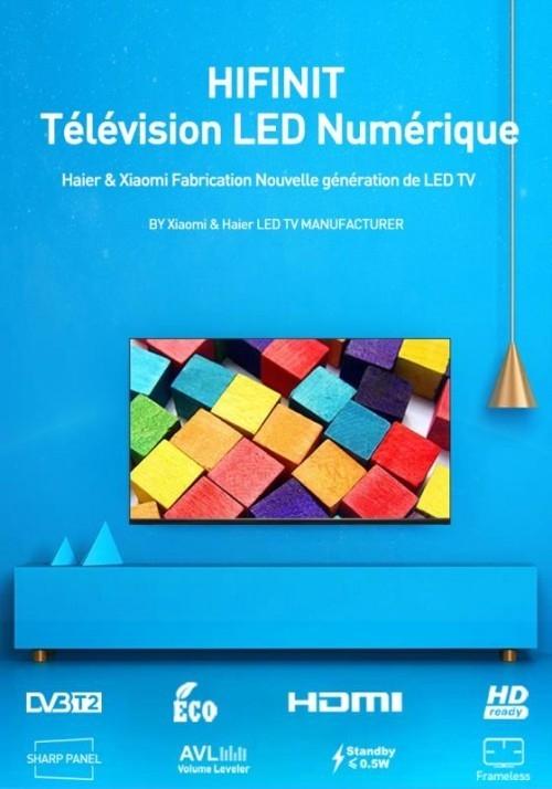 "Hifinit TV 32"" HD FRAMELESS - USB - HDMI -TNT- LE32H6500B- Noir"