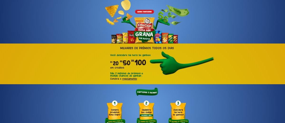 Participar Promoção Elma Chips Numa Mão Grana na Outra