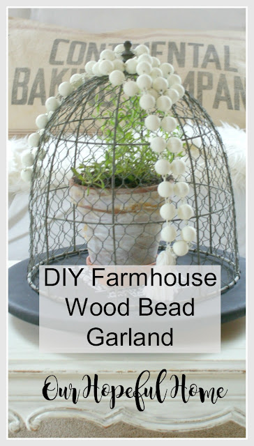 wire cloche wood bead garland tassel lazy susan