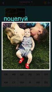 на траве лежит ребенок а по бокам родители которые его целуют