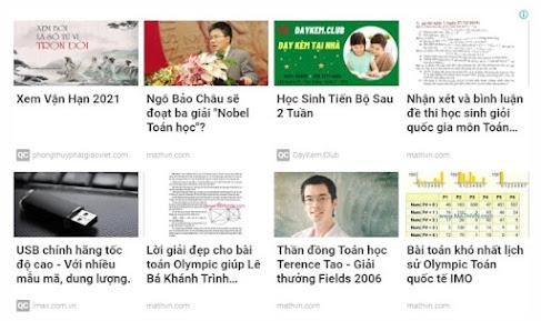 Ví dụ về một mẫu đơn vị quảng cáo nội dung phù hợp hiển thị ra trên trang web