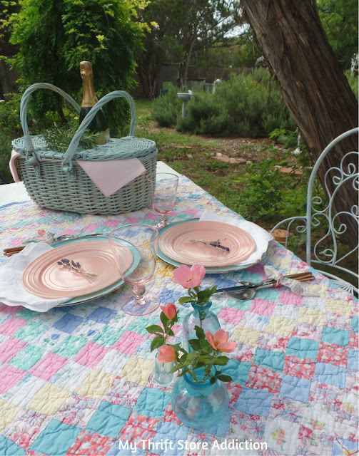 romantic vintage picnic tablescape