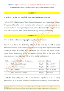 board resolution for bill of exchange and promissory note