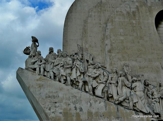 Navegadores portugueses representados no Padrão dos Descobrimentos, em Belém, Lisboa