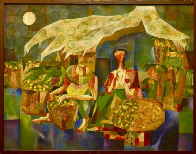 """Lanzones Vendors"" Oil Painting by Paete, Laguna-based Manuel Baldemor (1968)"