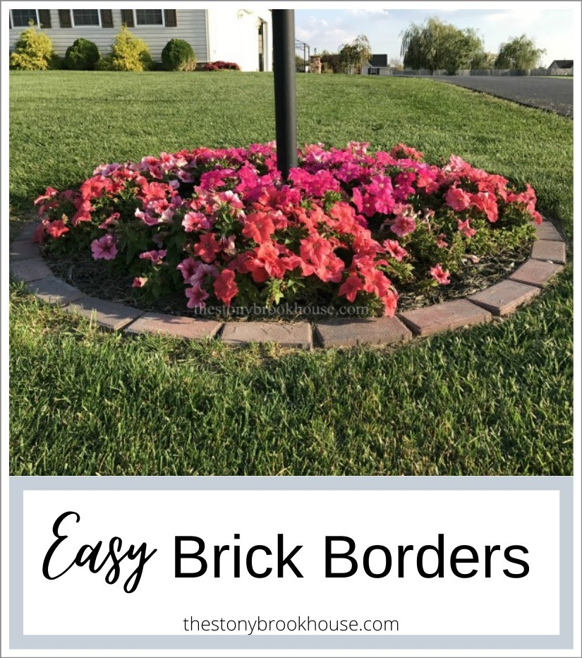Petunias in full bloom in brick garden ring