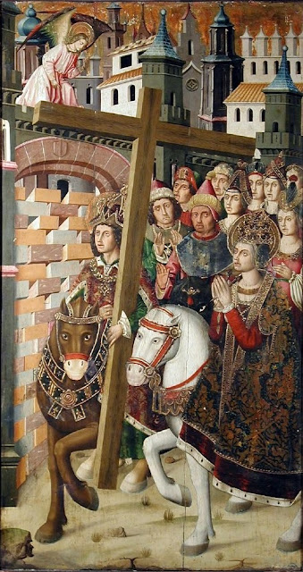 Heraclio devuelve la Vera Cruz a Jerusalén, acompañado de forma anacrónica por Santa Helena. Siglo XV, Aragón.