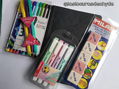 pedido de material escolar, libreta rotuladores de colores, gomas y fosforitos