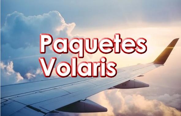 Texto de paquetes Volaris en Rojo con un Ala de Avion Volando
