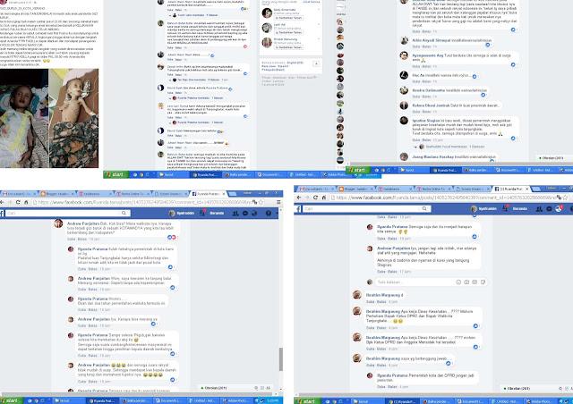 Pembicaraan di facebook yang menyalahkan Pemko Tanjungbalai atas kasus gizi buruk yang menimpa korban