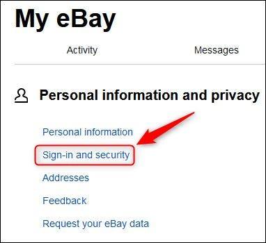 """خيار قائمة """"تسجيل الدخول والأمان"""" في ebay."""