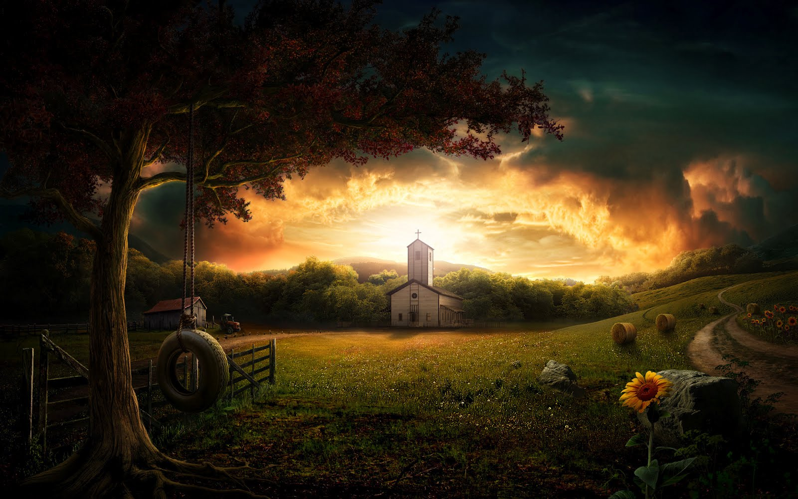 Foto Free Country Church Wallpaper