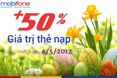 Khuyến mãi nạp thẻ Mobifone ngày 4/5/2017
