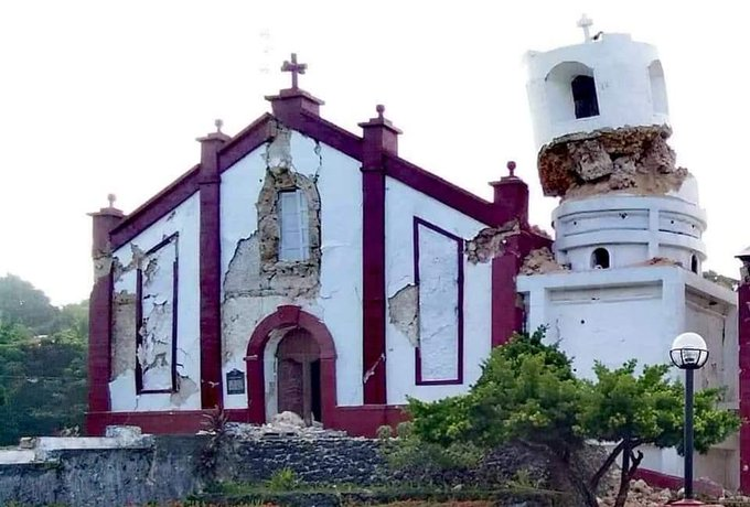 Itbayat Church in Batanes after magnitude 5.4 and 5.9 earthquakes on Saturday, July 27