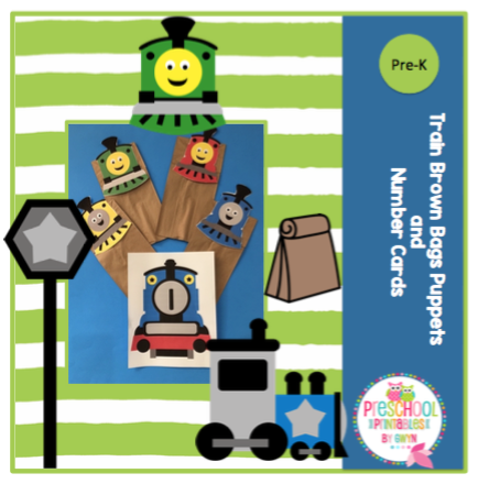Train Brown Paper Bags Puppets and Large Number Cards ~ Preschool ...