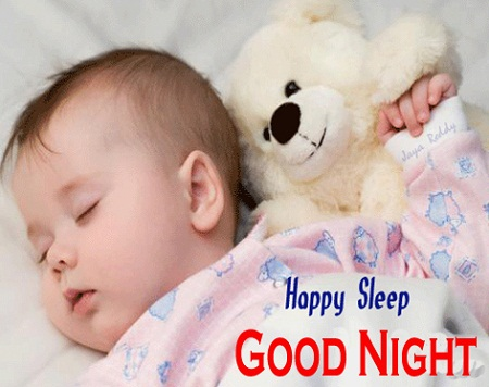 Sweet Good Night Baby Images with Teddy Bear