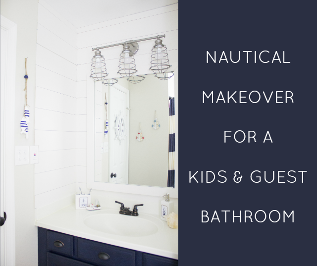 a nautical bathroom makeover thats perfect for both kids and guests