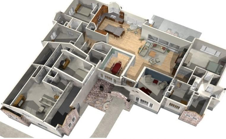 gambar denah rumah 4 kamar tidur 1 lantai 4