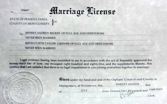 Joe. My. God.: JMG Readers Get Marriage License From