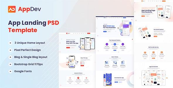 Best App Landing PSD Template