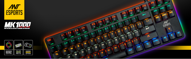 Ant Esports MK1000 Multicolour LED Backlit Wired TKL Mechanical Gaming Keyboard