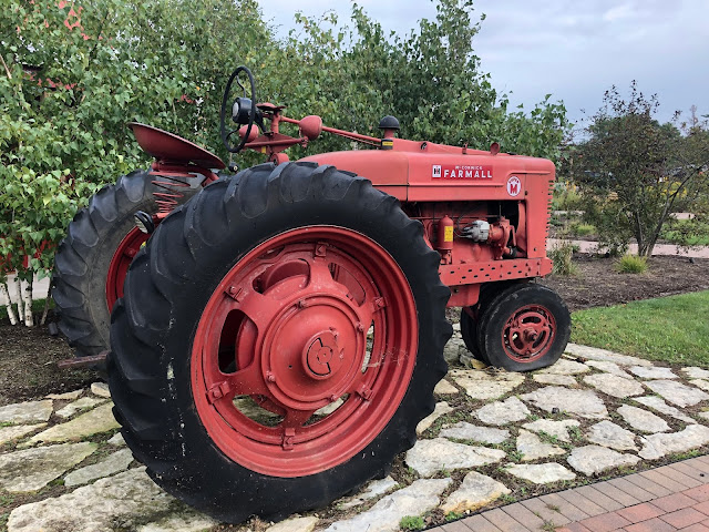 Vintage farm tractor at Abbey Farms in Aurora, Illinois