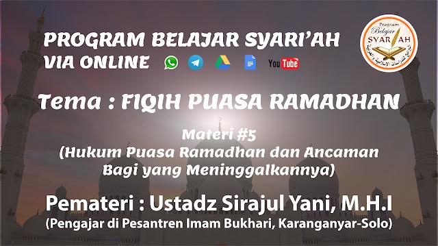 Hukum Puasa Ramadhan dan Ancaman Bagi yang Meninggalkannya (Materi #5)