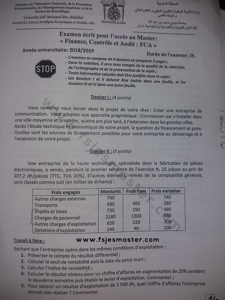 Exemple Concours Master Finance Controle et Audit ( FCA ) 2018-2019 - Fsjes Fes