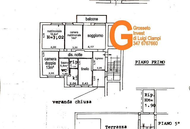 Planimetria appartamento Via  Sardegna, 24, Grosseto