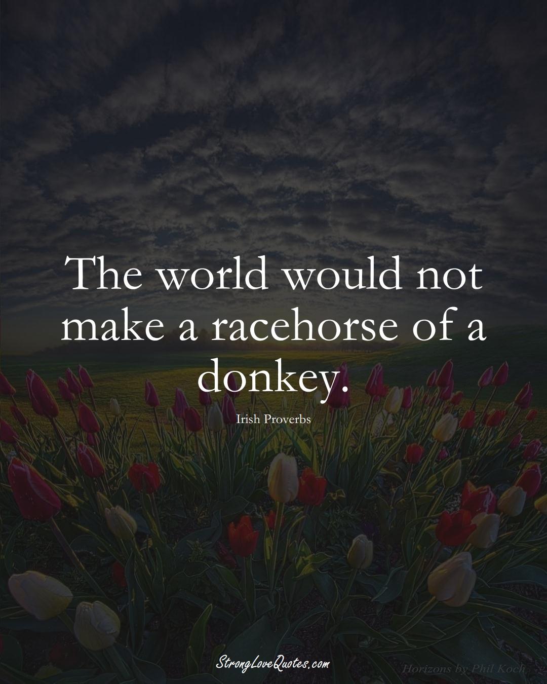 The world would not make a racehorse of a donkey. (Irish Sayings);  #EuropeanSayings