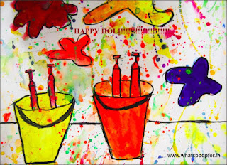 holi drawing for class 2
