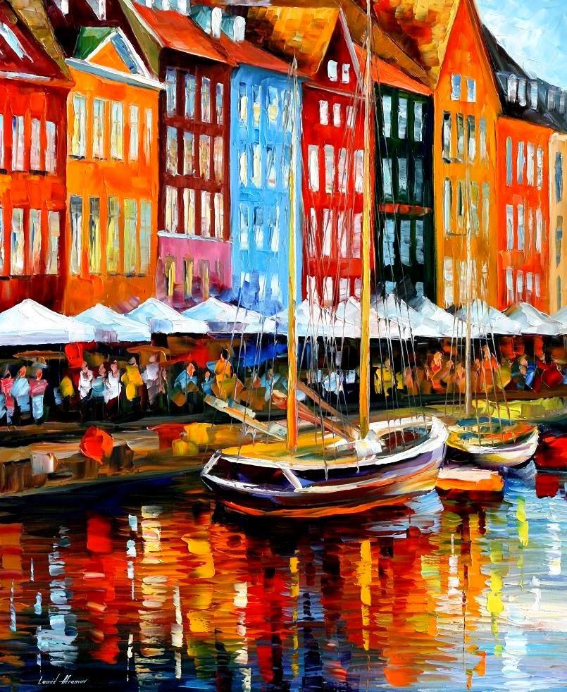 Copenhagem - Dinamarca -  Pinturas de Leonid Afremov | O mestres da  espátula