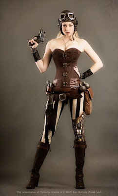 An example of overbust corsets in steampunk fashion, this woman is wearing an overbust corset with pants, boots, aviator helmet and goggles.