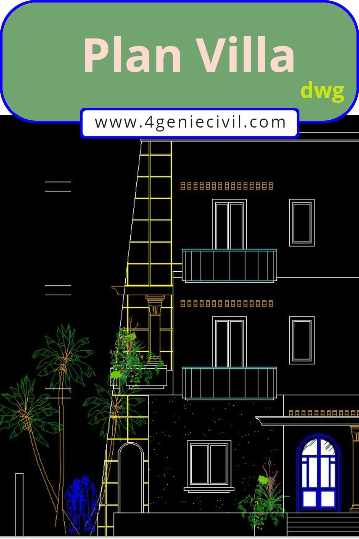 Exemple de plan autocad d'une villa en R+2 avec un design original. à télécharger gratuitement.