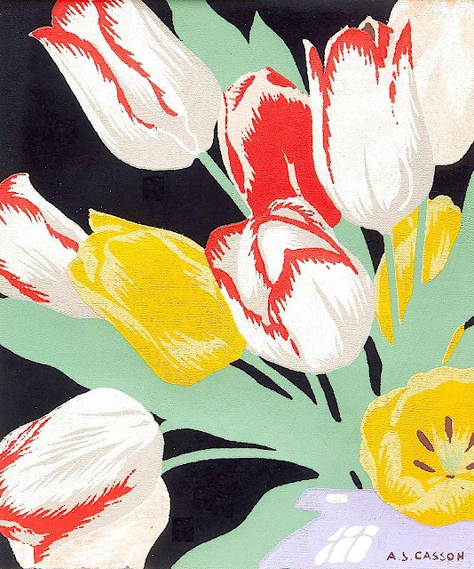 an A.J. Casson painting or illustration of flowers